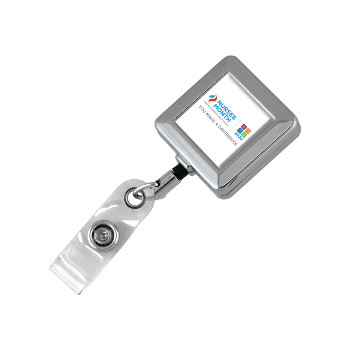 Chrome Retractable ID Holder